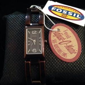 Rectangular Wine Stainless Steel Fossil Watch
